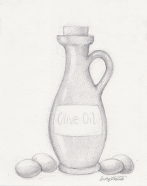 Pencil sketch of an olive oil bottle