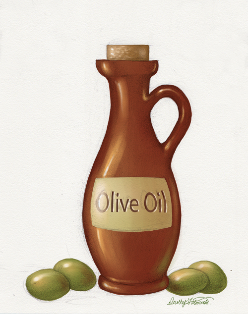 Digital photoshop painting of an olive oil bottle with olives